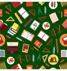 Seamless school supplies flat pattern background vector image