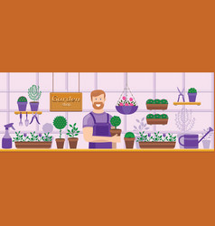 Seller sells plants and flowers vector