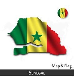 senegal map and flag waving textile design dot vector image