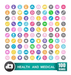 Set of 100 icons of health and medical with circle vector image