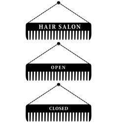 set of hair salon combs open and closed vector image