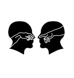 Silhouette of male faces with hands showing creati vector