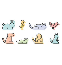 simple set pet related line icons contains vector image
