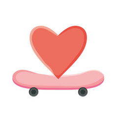 skateboard sport with heart love vector image