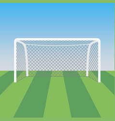 Soccer goal and grass in football stadium vector