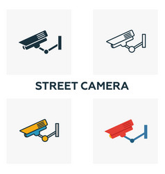 street camera outline icon thin style design from vector image