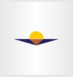 Sun and sea sunset icon logo element symbol vector