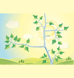 Sunny rural landscape with branches birch trees vector
