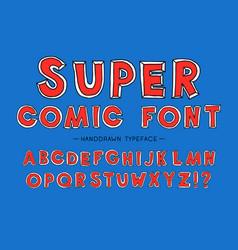 Super man comic font hand drawn typeface vector