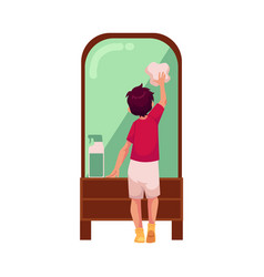 Teen boy cleaning mirror by rag vector