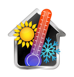 Temperature in the house air conditioning and vector