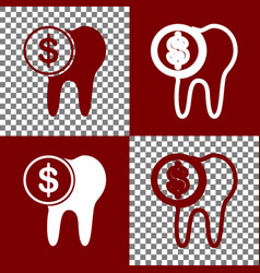 The cost of tooth treatment sign bordo vector