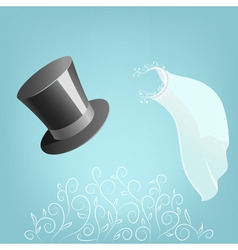 Top hat and wedding veil with floral ornament vector