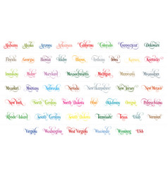 Typography of the usa states name colorful vector