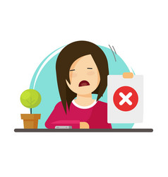 unhappy girl showing negative answer vector image