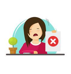 Unhappy girl showing negative answer vector