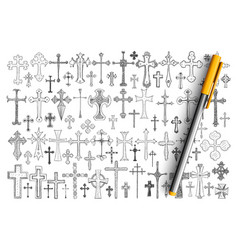 various religious crosses doodle set vector image