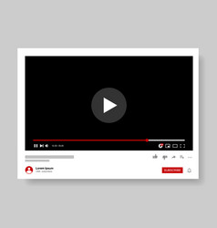 video player template design mockup live stream vector image