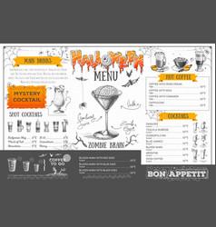 Vintage halloween menu design restaurant menu vector