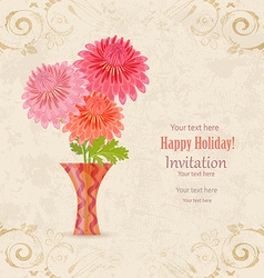 vintage invitation card with lovely flowers in vector image