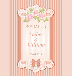 vintage wedding invitation with roses vector image