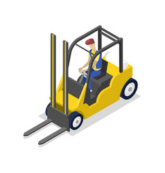 warehouse forklift isometric 3d icon vector image