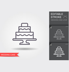 wedding cake line icon with shadow and editable vector image