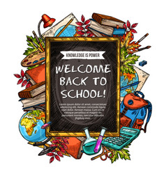 Welcome back to school sketch banner design vector
