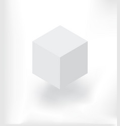 White isometric cube with shadow vector