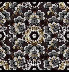 White white floral ornament in baroque style vector