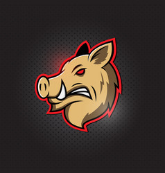 wild hog pig or boar head mascot logo vector image