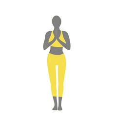 Woman in tadasana samasthiti yoga posture vector