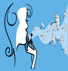 Woman with dandelion vector