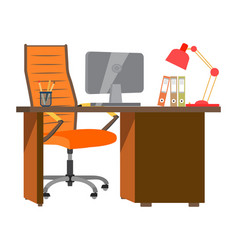 workplace in office with table computer chair vector image