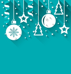 Xmas background with fir balls stars streamer vector