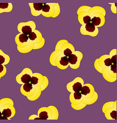 yellow pansy flower on purple background vector image