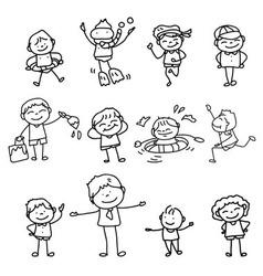 cartoon character kids playing vector image vector image