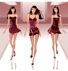 Fashion models on catwalk vector image vector image