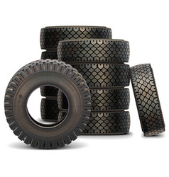 Old Truck Tire Set vector image vector image