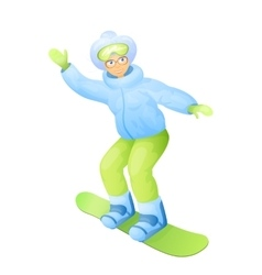 old woman in snowboarding vector image