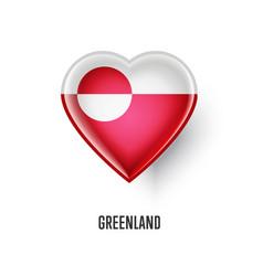 patriotic heart symbol with greenland flag vector image