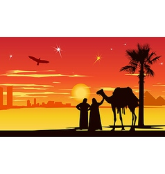 Arabian night background vector image