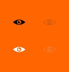 Eye black and white set icon vector