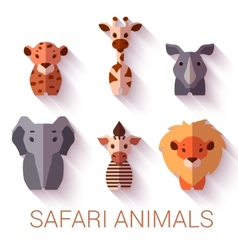 set of six Safari animals on white background vector image vector image