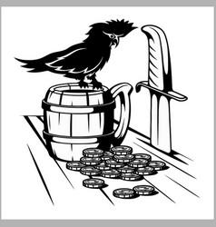 Beer mug and parrot - pirate symbols vector