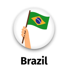 brazil flag in hand round icon vector image vector image