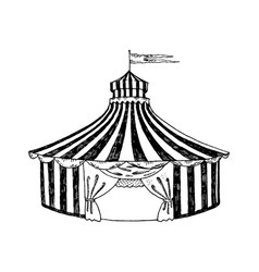 circus tent engraving style vector image vector image