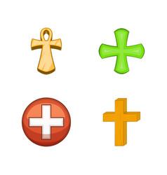 cross icon set cartoon style vector image