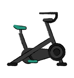 drawing stationary bicycle machine gym sport vector image vector image