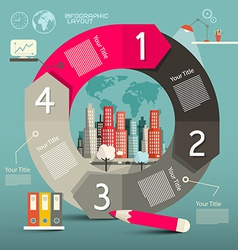 Infographics Template - Layout with City vector image vector image